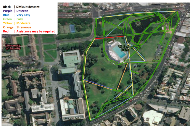 Ariel image of the mapping of Victoria Park, Glebe as part of the Inclusion Disability Action Plan for City of Sydney