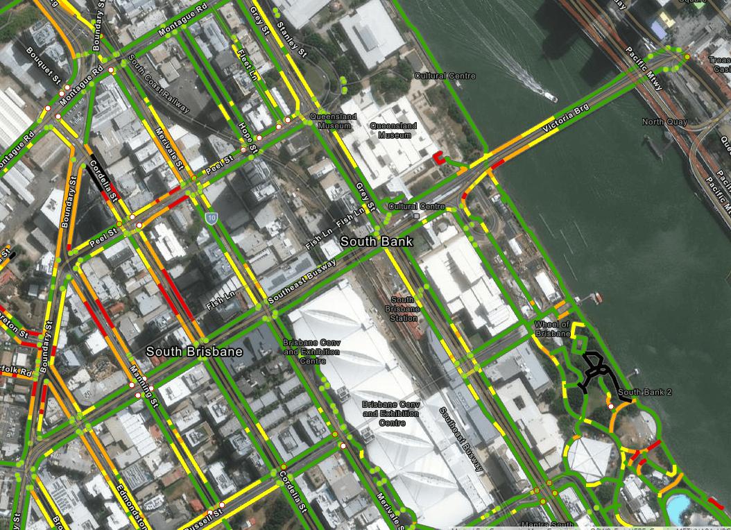 Briometrix Effort-Based Mobility Map: South Bank, Brisbane QLD, AU